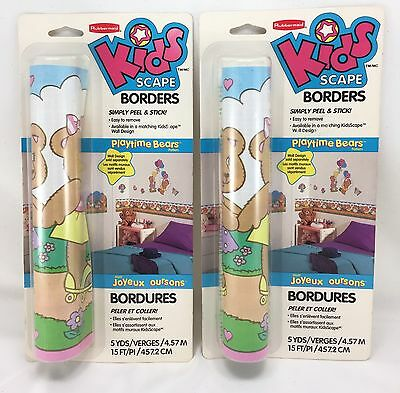2pc Rubbermaid KIDSCAPES Wallpaper Border PLAYTIME BEARS Theme Baby Babies