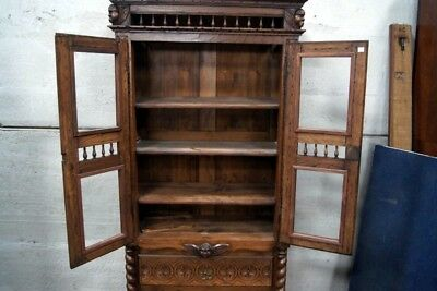 Unusual Antique French Carved Oak Cupboard