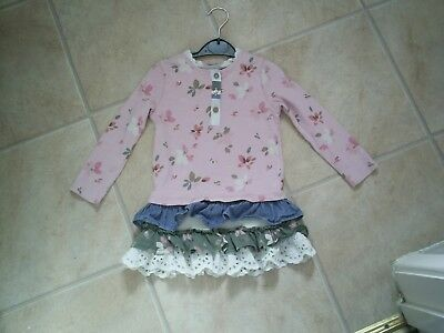"""Girls """"Next"""" Pink Floral - Frilled Hem - Tunic Top for Age 18-24 months"""