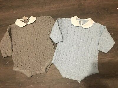 Baby babies boy boys girl girls outfit dress knitted romper grey