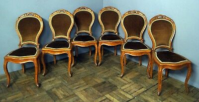Set of 6 antique clean oak balloon back chairs