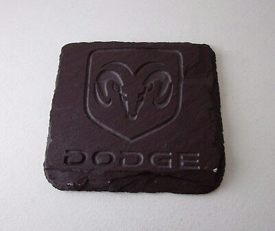 DODGE Engraved Canadian Slate Coaster 4 Inch by 3 3/4 Inch