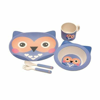 Epicurean Kids 5Pce Bamboo Owl Dining Eating Set Break Resistant Plate Bowl