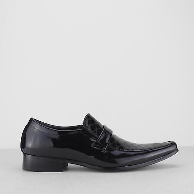 Mister Carlo MARILYN Mens Faux Leather Pointed Toe Newspaper Print Loafers Black