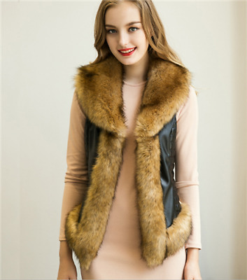 Women's' Fashion Pu Leather Lapel imitation fur stitching vest jk