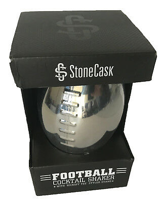 Football Cocktail Shaker with 'Kickoff Tee' Stand 24oz Premium Stainless Silver