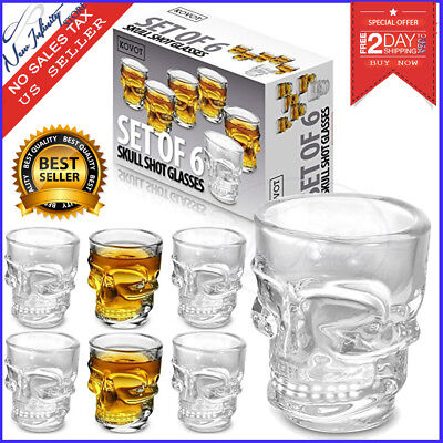 Skull Shot Glass Clear Head Set of 6 Vodka Whiskey Cup Party Halloween Glasses