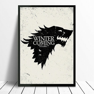 Game Of Thrones House Of Starc Winter Is Coming Glossy Poster Frame Print A4 A3