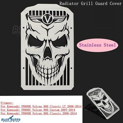Skull Radiator Grill Guard Cover For Kawasaki VN900C Vulcan 900 Custom 2007-14