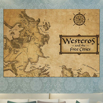 Game Of Thrones Game Of Thrones Vintage Map Of Westeros Poster Print A4 A3