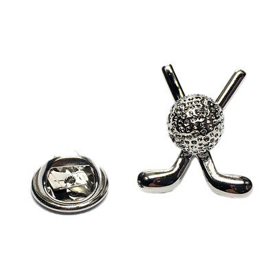 Rhodium Plated Crossed Golf Clubs & Ball Lapel Pin Badge X2AJTP796