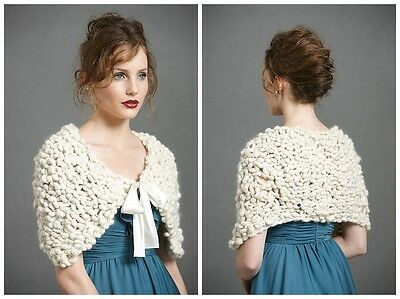 BHLDN Anthropologie Ivory ROCKY SHORES BOLERO Size S/M Knitted Wool NWOT $280