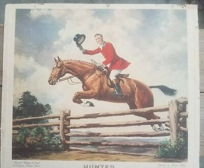 1946-1947 Hunter whiskey cardboard  ad 15x16.5 inches hunter first over the bars