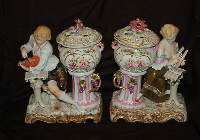 """Two 10"""" Tall Colonial Figurine Asian Ceramic Incense Burners"""