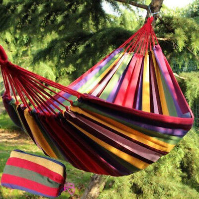 Double Cotton Fabric Hammock Combo Swing Chair Home Outdoor Travel Case AU POST