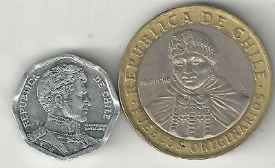 2 DIFFERENT COINS from CHILE - 1 PESO & BI-METAL 100 PESO (BOTH DATING 2008)