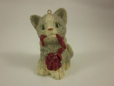 Resin Gray Kitten With Red Bow Christmas Ornament