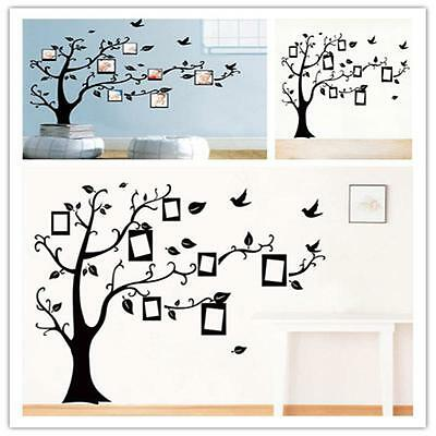 Black Large Family Tree Photo Frame Quotes Wall Stickers Decals DIY Art Decor