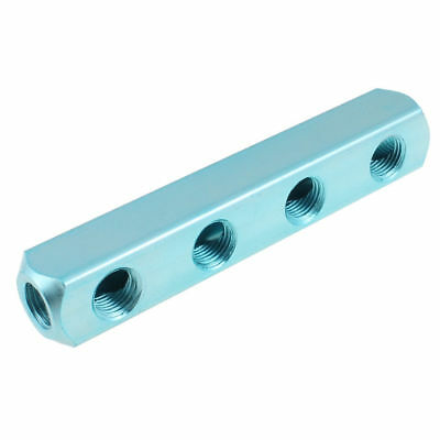 "Pneumatic Air 1/4"" PT 4 Way Air Hose Inline Manifold Block Splitter Blue"