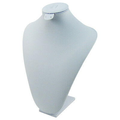 White Leather Jewelry Pendant Neck Display Bust Form Leatherette Necklace Stand