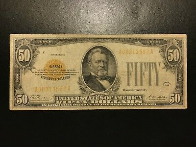 1928 $50 Fifty Dollar Gold Certificate Note Small Size FR.2404 Very Fine