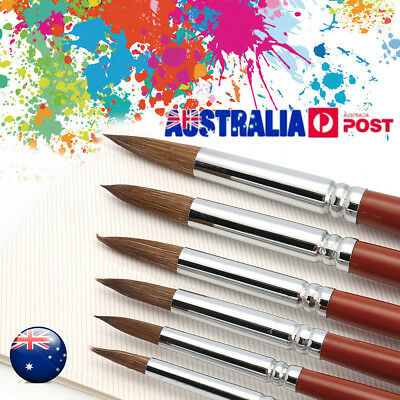 6X Value Kolinsky Sable Hair Round Point Paint Brush Set Craft Painting Supplies