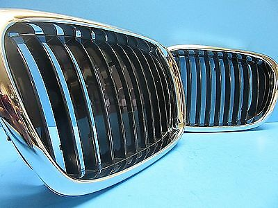 Set Front Hood Grills Left & Right Replace BMW OEM # 51137005837/38 Chrome Black