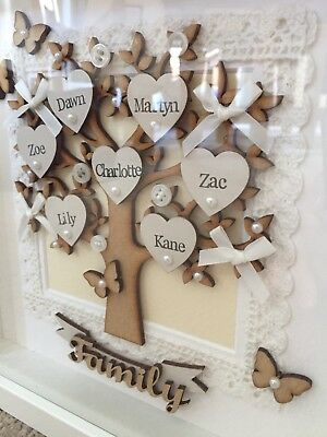 Personalised Bespoke Gift Family Tree in Box Frame