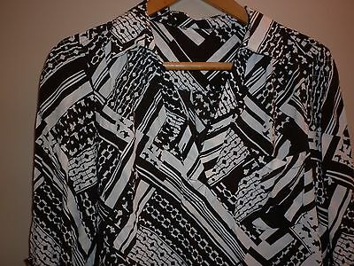 VINTAGE 80s LARGE EXOTIC  PRINT  TOP/SHIRT GOOD CONDITION