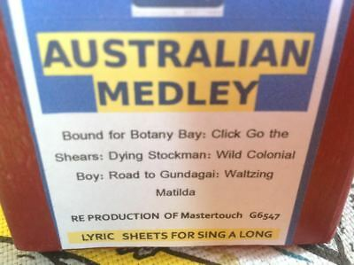 AUSTRALIAN MEDLEY 6 Songs  NEW  LONG PLAY  PIANOLA  PLAYER PIANO ROLL