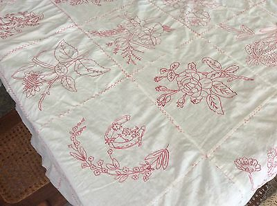 Vintage Cotton Embroidered White with Red Coverlet