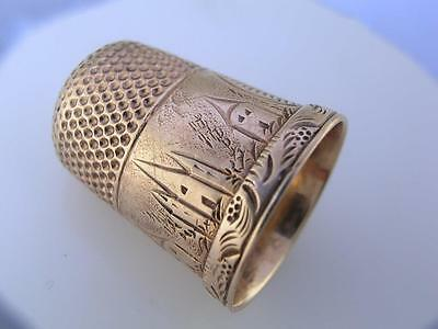 14K Gold THIMBLE w/ engraved scenes of Buildings ~size 7