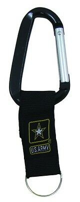 US Army Official Carabiner Keychain Black Key Holder Fob Military Belt Clip New
