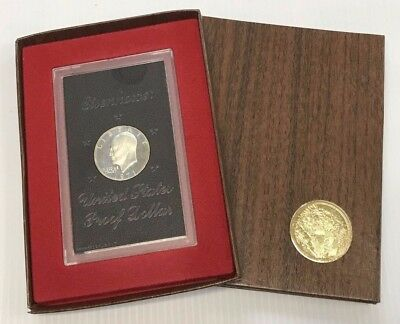 1971 S US Mint Eisenhower Silver Dollar Brown Ike w/ Original Box - Free Ship