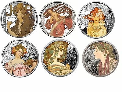 Alphonse Mucha 6 0z .999 silver coins collection colorized Art series set Rare.