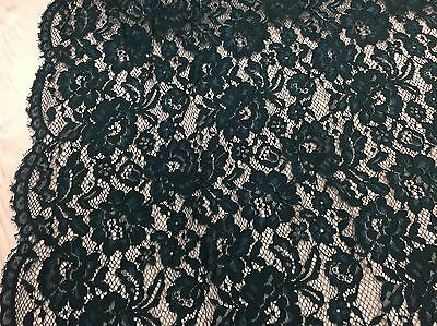 Dark Teal Vintage Corded French Lace Embroider On An Antique Mesh -yard