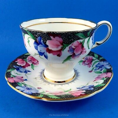 Tapered Sweet Pea and Black Border Paragon Tea Cup and Saucer Set
