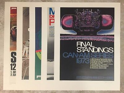 Set of 5 Signed & Numbered Erich Strenger Porsche Race Victory Posters, Set #2