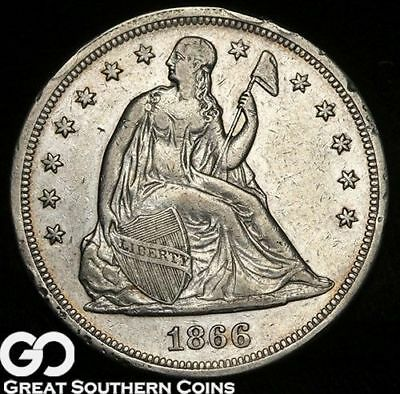 1866 Liberty Seated Silver Dollar, A.U.
