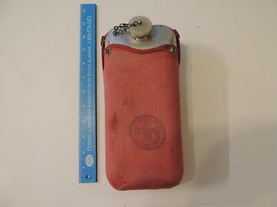 vintage Boy Scout Be Prepared long metal canteen  in original red pouch