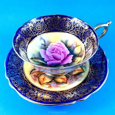 Signed Rare Hand painted Rose Center with Cobalt Border Paragon Tea Cup & Saucer