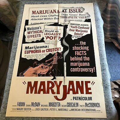 "Mary Jane 1968 Original 1 Sheet Movie Poster 27"" x 41"" (F/VF+) Drug Documentary"