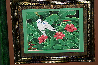 Hand painted Custom Framed Original Art painting on Canvas Signed Tropical Birds