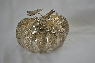 Southeast Asian Melon Form 90% Silver Betel Box - Highly Decorated