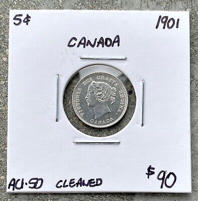1901 Canada Silver Five 5 Cent Coin 8573 - $90 AU cleaned