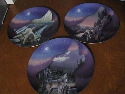 Three Bradford Exchange Wolf Profiles of the Pack # 1, 2 &  3 Collector plates