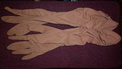VINTAGE PAIR 1950s BROWN LONG GLOVES GOOD CONDITION