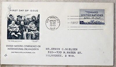 WW2 First Day cover from USA: United Nations conference, San Francisco