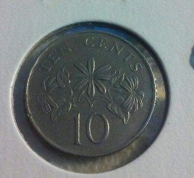 1986 Singapore -  10 Cents - Standing Lions - Circulated-  (#JU039)
