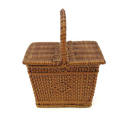 RARE Antique 19th c. Shaker Double Lid MINIATURE Sewing Basket ~ AAFA
